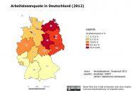 Beispielkarte zur Arbeitslosenquote 2012 - erstellt mit Quantum GIS